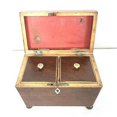 Antique Regency Mahogany Satinwood Inlaid Brass Mounted Two Section Tea Caddy 9