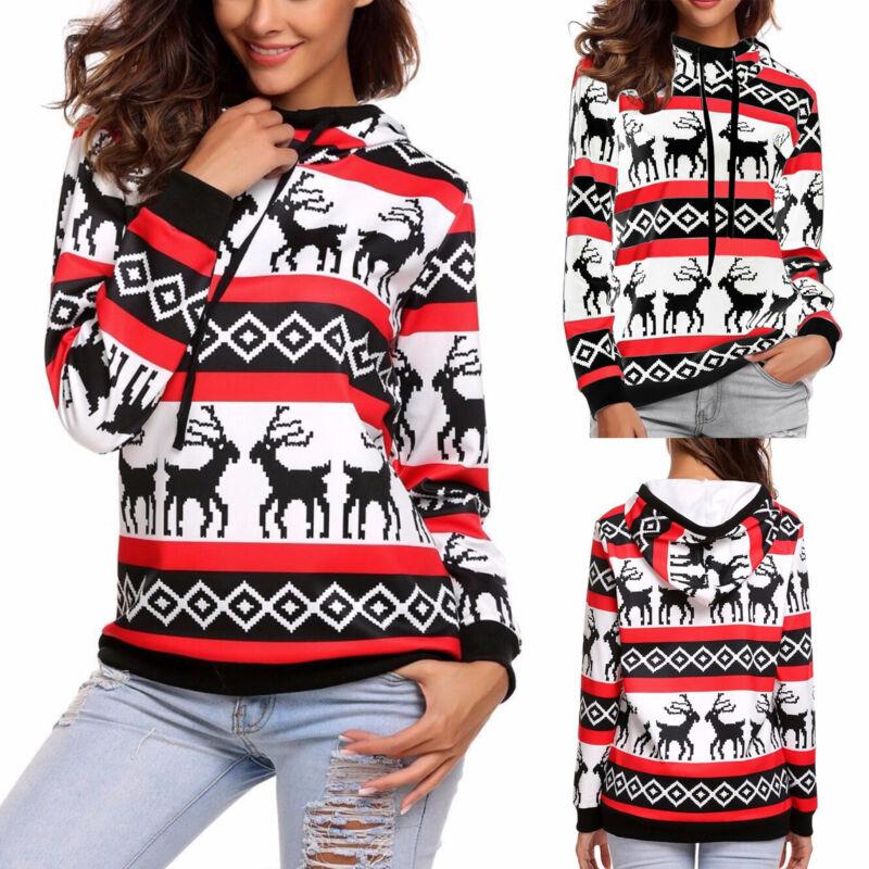 XMAS Women Sweatshirt Sweater Jumper Girls Christmas Hoodie Pullover Tops Blouse 9