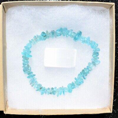 CHARGED Blue Apatite Crystal Chip Bracelet Polished Stretchy ENERGY REIKI 6