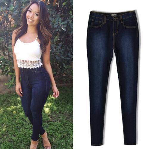Damen High Waist Jeanshose Stretch Skinny Jeans Treggings Jeggings Denim Hosen 5