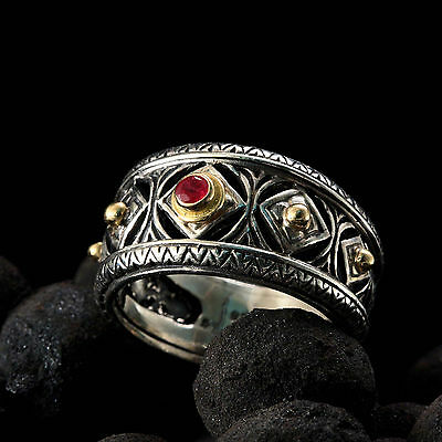 Gerochristo 925 Silver and 18K  Solid Gold Byzantine Handmade Ring with Ruby 3