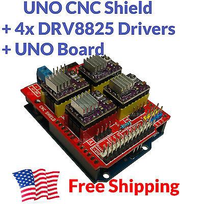 ARDUINO CNC SHIELD Kit - UNO Board 4x DRV8825 Drivers Package Deal FREE USA  SHIP