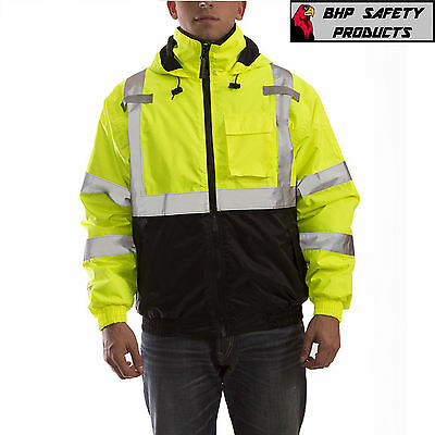 Hi-Vis Insulated Safety Bomber Reflective Jacket ROAD WORK HIGH VISIBILITY 2