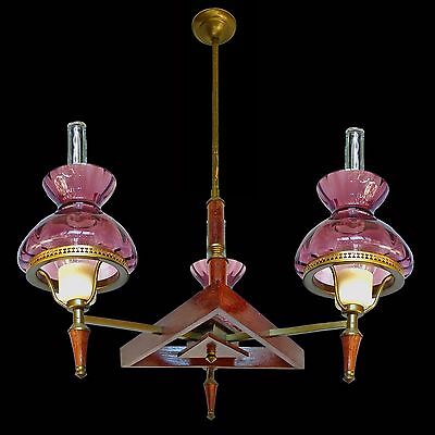 Antique French Art-Deco Purple Amethyst Glass Shades / Wood and Brass Chandelier 5