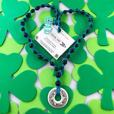 HOTI Hemp Handmade Celtic Nehalennia Dolphins Annulus Beaded Turquoise Necklace 2