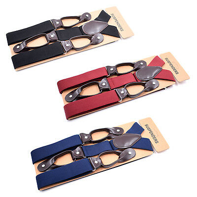 Mens Adjustable 35mm Wide Trouser Belt Suspender Elastic Leather Button Braces 3