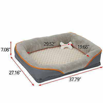 Dog Bed Memory Foam Pet Bed with Removable Washable Cover and Squeaker Toy 6