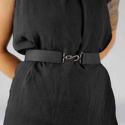 Black Elastic Belt Womens Plain Elasticated Hook Snake Belt Unisex Mens UK