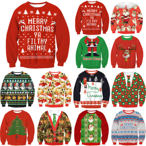 Women Ugly Christmas Xmas Sweater Pullover Jumper Top Sweatshirt Hoodies Blouse 7