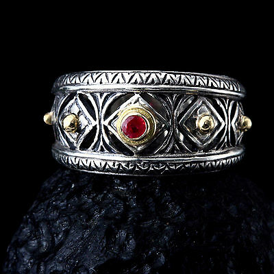Gerochristo 925 Silver and 18K  Solid Gold Byzantine Handmade Ring with Ruby 5