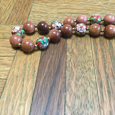 Old China Export Genuine Gold Sand Stone & Cloisonné Enamel Bead Necklace 2