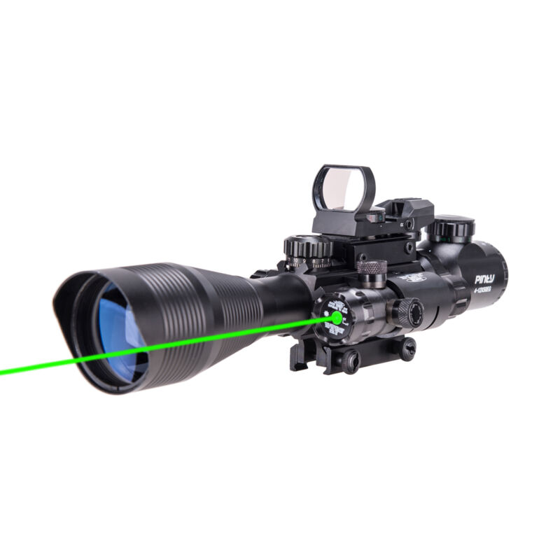 Pinty 4-12X50 Tactical Rangefinder Reticle Rifle Scope Green Laser & Dot Sight 6