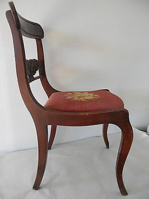 Antique Needle Point Chair with Carved Eagle on Back 7