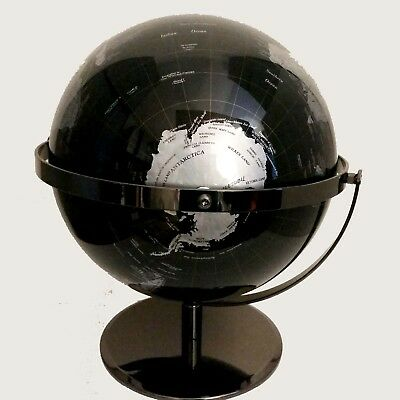 STUNNING HIGH QUALITY Double Axle World Globe Black Chrome Home Decor Gift 30cm 3