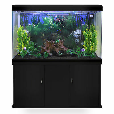 Fish Tank Aquarium Complete Set Up Tropical Marine Black Cabinet 4ft 300 Litre 2
