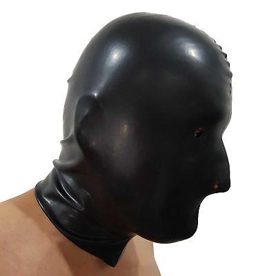 Brand New Black Latex Rubber Gummi Hood Mask (one size) 5