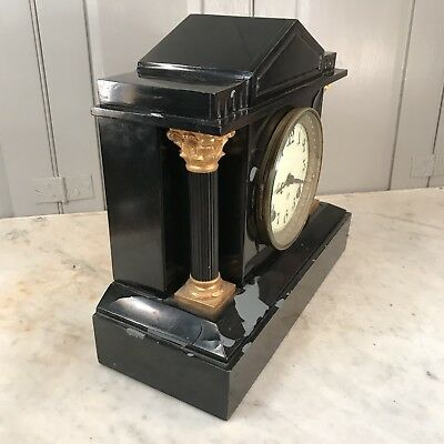 Antique Victorian black slate mantel clock - restoration project 5
