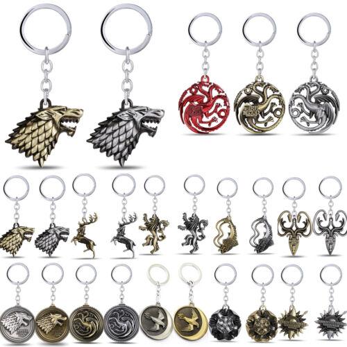 Game of thrones House Stark Lannister Targaryen Keychains Metal Key Ring Keyfob 3