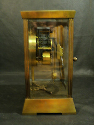 "Antique Seth Thomas ""Empire"" Brass Crystal Regulator Clock, Unusual Pendulum 7"