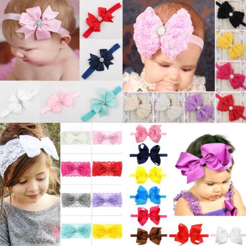 Newborn Infant Headband Ribbon Elastic Baby Headdress Kids Girl Bow Hair Band 3
