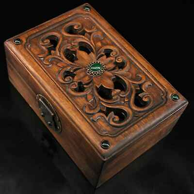 Collectable China Old Boxwood Copper Mosaic Agate Carve Flower Rare Music Box 3