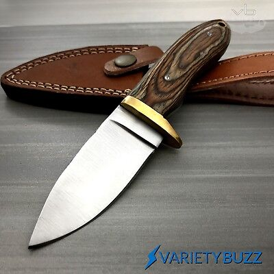 Hunting Survival Skinning Fixed Blade Knife Full Tang + Leather Sheath WOOD -NEW 2