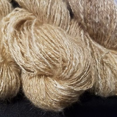 CRAZY Handspun Satin Angora Yarn Natural Fawn 30 yds lace to fingering wt 2 ply 2
