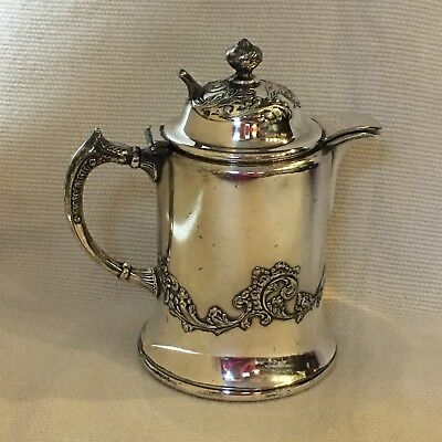 Antique Silver Plate Syrup Pitcher  ~ Bristol Plate ~ Heavy Flourish Pattern 3