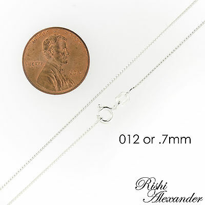925 Sterling Silver BOX Chain Necklace All Sizes Stamped .925 Italy