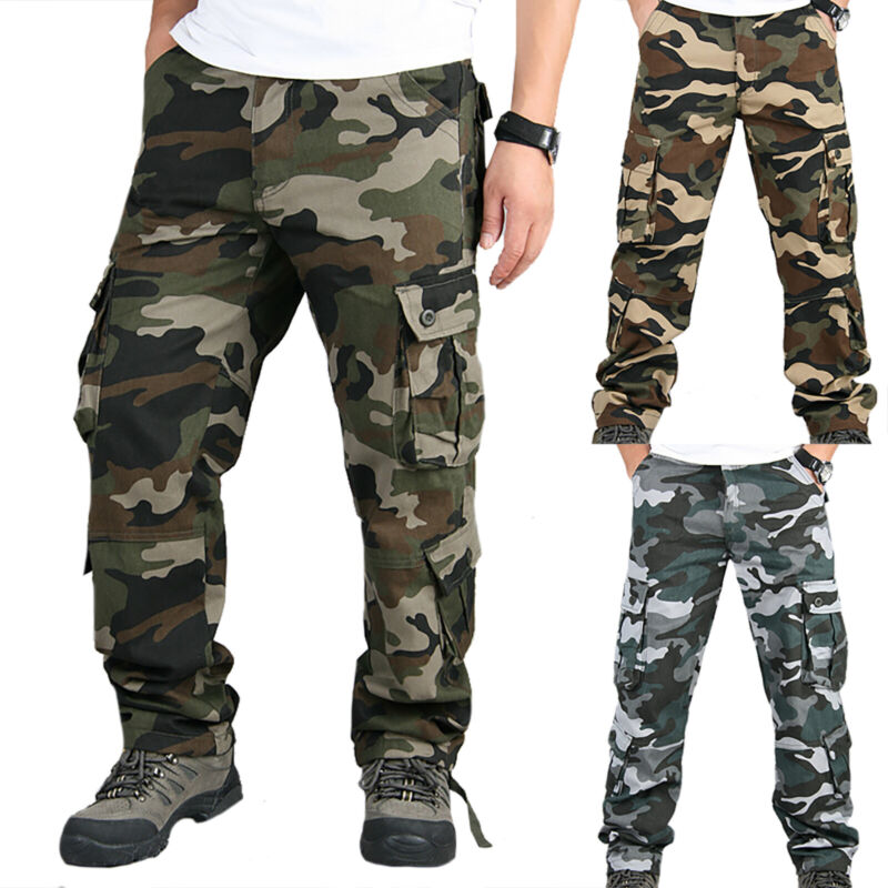 Mens Combat Cargo Trousers Work Tactical Military Army Camo Chino Long Pants AU 10