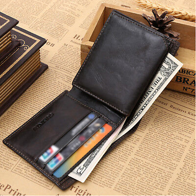 Genuine Leather Mens Purse Bifold Credit Card Wallet RFID Blocking Anti Scan OZ 3