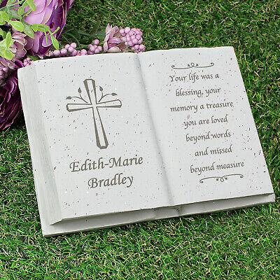 Personalised Memorial Book / Bible Plaque Garden Grave Ornament Cross Rose 4