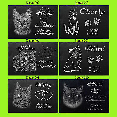 TIERGRABSTEIN Grabstein Grabplatte Katzen Katze-007 ►50 x 25cm◄Foto+ Text Gravur