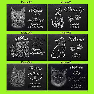 TIERGRABSTEIN Grabstein Grabplatte Katzen Katze-007 ► Foto+ Text Gravur◄ 50 x 30