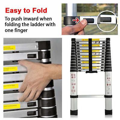 Folding 12.5FT Multi Purpose Telescopic Extension Ladder Aluminum Heavy Duty 5