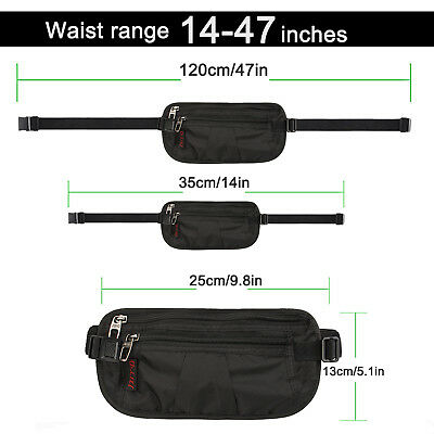 Money Belt travel bag secure waist zip Pouch RFID-Blocking Card/Passport Sleeves 5