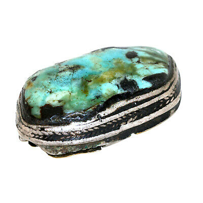 (2559) Antique Tibetan Turquoise Set in Silver and Copper. Large size 4