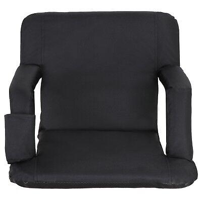 2 PCS Black Stadium Seat Bleacher Chair Cushion - 5 Reclining Positions 2
