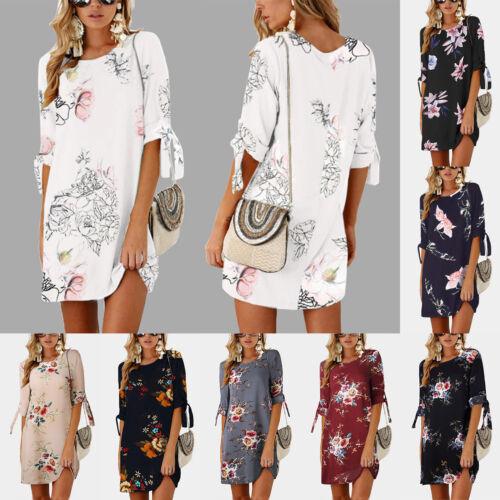 Women Floral Printed Long Tops Blouse Summer Beach Tunic Dress Plus Size 6-22 3