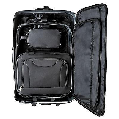 Set de 4 valises de voyage textile trolley bagage avec 2 roues noir 9