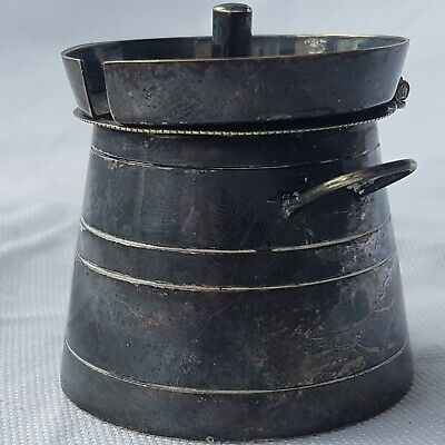 Unusual Silver Plate (E.P.N.S) Milk Churn Form Mustard Pot ~ Curiosity ~ Unique 2
