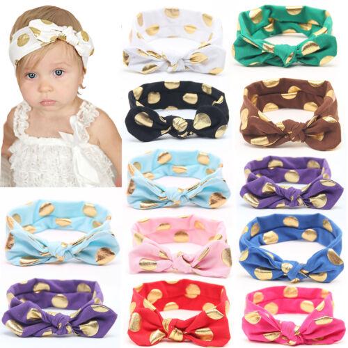 Girls Kids Baby Polka Dots Bow Hairband Headband Stretch Turban Knot Head Wrap 2