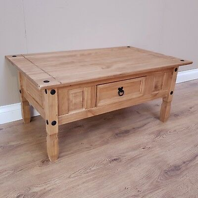 Corona Coffee Table Mexican Solid Pine 1 Drawer Livingroom by Mercers Furniture® 5