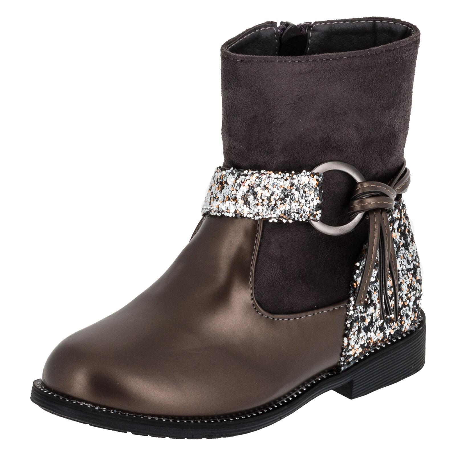 Trendige Mädchen Stiefeletten Stiefel Schuhe Lederoptik Glitzer Reißverschluss 3