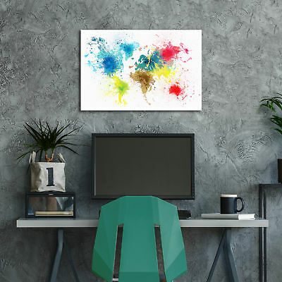 ZAB1584 Colourful World Map Modern Canvas Abstract Home Wall Art Picture Prints 3