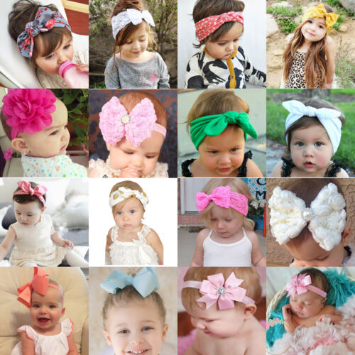 Girls Kid Baby Cotton Bow Hairband Headband Stretch Turban Knots Head Wrap New 5