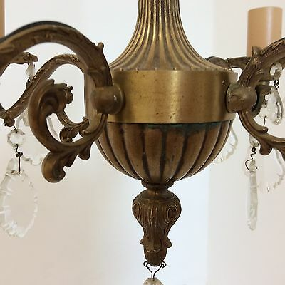 Antique Style Brass and Crystal Chandelier 6