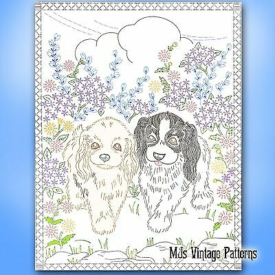 Vintage Embroidery Pattern Puppy Dogs Wall Hanging Picture Cocker