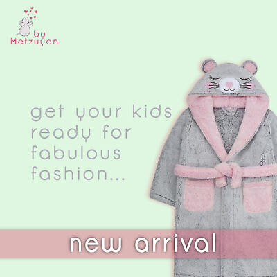 Girls Dressing Gown Novelty Mouse Kids Hooded Robe Fluffy Thick Snuggle Fleece 6