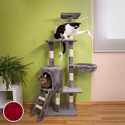 Arbre à chat griffoir grattoir jouet animaux douillet et peluché bordeaux 3
